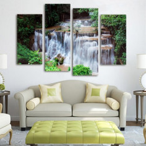 4 Cascade Modern Unframed Mountain Scene Canvas Painting Decorative Wall Picture Home Decoration
