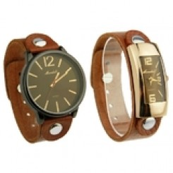 2pc Watch Set - Genuine Cow Leather Watches