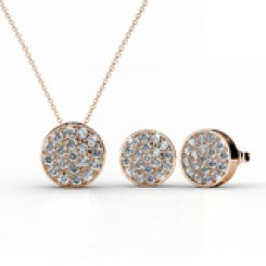 Pave Pendant Necklace & Earrings Set Embellished with Crystals from Swarovski -RG