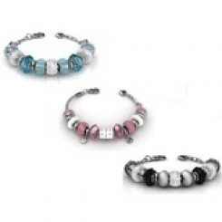 3pc Set of Complete Charm Bracelets Embellished with Crystals from Swarovski