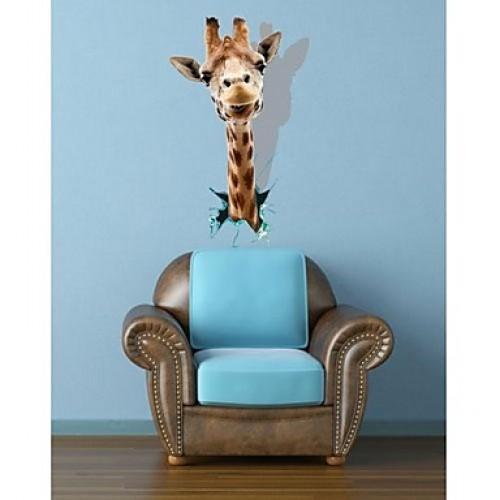 Striking 3D Giraffe Wall Decal