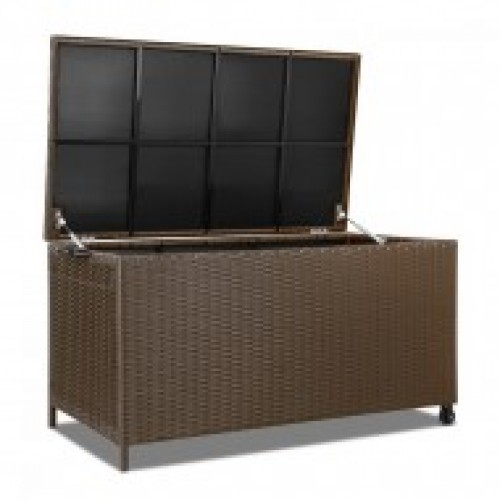 320L Outdoor Wicker Storage Box Brow