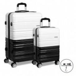 Set of 2 Luggage Suitcase Trolley - Black & White