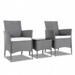 3 Piece Rattan Outdoor Furniture Set - Grey