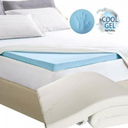 COOL GEL MEMORY FOAM MATTRESS TOPPER WITH BAMBOO FABRIC COVER (8CM)