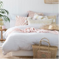 BAMBURY IVORY LINEN QUILT COVER SET