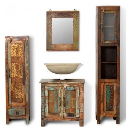 RECLAIMED SOLID WOOD CABINET SET WITH MIRROR & 2 SIDE CABINETS